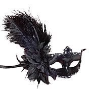 Black Ostrich Hair Princess PVC Party Half-face Mask
