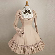 Long Sleeve Knee-length Pink Cotton School Lolita Dress