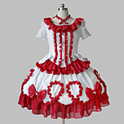 Kortærmet Knælang White Cotton Ruffle Bow Aristocrat Lolita Dress