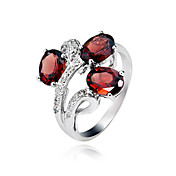 925 Sterling Silver Natural Garnet Ring (1.4carat) (5 * 7mm)