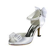 Satin Naaldhak Peep Toe Met Imitatie Parel Trouwschoenen (meer kleuren)