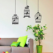 Three Birds Cage Wall Stickers