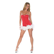 Sexy Red Santin Dress Christmas Costume (1 Piece)