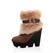 Suede Wedge Heel Ankle Boots With Buckle / Fur Party / Evening Shoes (More Colors)