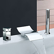 Widespread Chrome Finish Waterfall Contemporary Two Handles Tub Faucet With Handshower