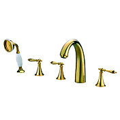 Contemporary Ti-PVD Finish Three Handles Widespread With Brass Handled Shower Head Tub Faucet