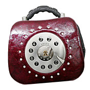 Handmand Retro Stijl Wijn Rode Telefoon Patroon PU Leather Classic Lolita Handtas met Drill