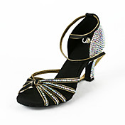 Women's Satin / Rhinestone Upper Ankle Strap Latin / Salsa Dance Performance Shoes