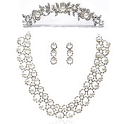 Alliage avec strass / imitation Set Perles Bijoux femmes, y compris le collier, boucles d'oreilles, Tiara