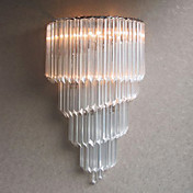 60W E14 Chrome Finish Wall Light with Crystal Glass Strips and 3 Lights