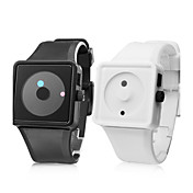 Pair of Fashionable Silicone Style Wrist Watches (Black and White)