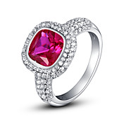 Gorgeous 925 Sterling Silver Platinum Plated Birthstone Ring (Flere farger)