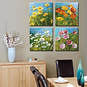 Stretched Canvas Print Landscape Floral Set of 4 1301-0167