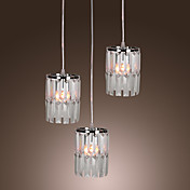 Modern Bar Pendant Light with 3 Lights in Crystal Shade