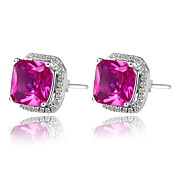 925 Sterling Silver Platinum Plated AAAA Birthstone Earrings
