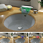 Contemporary Chrome Finish Waterfall Color Changing LED Bathroom Sink Faucet