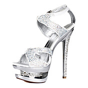 Elegant Leather Stiletto Heel Sandalen Met Strass partij / avond schoenen