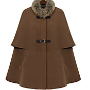 Women's Cashmere Blends Cape with Detachable Fur Collar