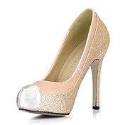 Elegante couro Stiletto Heel Bombas com espumante Glitter partido / Evening Shoes