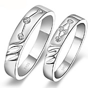 Fashion Platinum Plated Silver and Alloy Couples' Ring