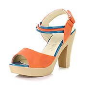Elegant Leatherette Chunky Heel Sandals With Velcro Party/Evening Shoes (More Colors)