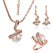 Unique 18K Plated With Rhinestone / Pearl Women's Jewelry Set Including Necklace,Earrings,Ring
