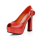 Leatherette Chunky Heel Pumps With Flower Party / Evening Shoes (More Colors)