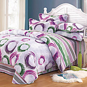 4pcs Circle Pattern Quilted Cotton Full / Queen Set Funda Nórdica