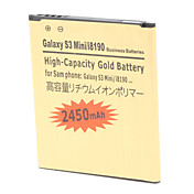 2450mAh High-Capacity Gold Battery i8190-GD for BlackBerry Phone i8190, Samsung Galaxy S3 Min