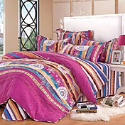 4PCS Colorful Stripe Quilted Cotton Full/Queen Duvet Cover Set