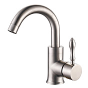 Stainless Steel Brushed Finish Contemporary Style Centerset Bathroom Sink Faucets