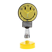 "Spring Base 3"" Smiling Face Style Analog Alarm Clock (Yellow)"