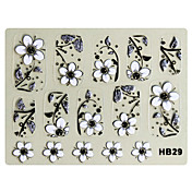 3PCS 3D Nail Art Stickers HB Series No.6 Black Cartoon Transparent