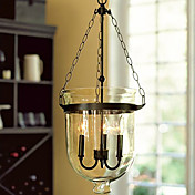 60W Retro Pendant Light with 3 Lights and Glass Shade in Candle Feature