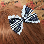 Handmade Black and White Polka Dots Cotton Bow Casual Lolita Headpiece with Lace