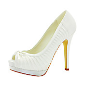 Beautiful Satin Stiletto Heel Peep Toe With Ruched Wedding Shoes (More Colors)