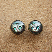 Kvinners Vintage Light Blue Eyes Cats Round Copper Studs