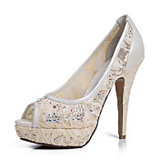 Gorgeous Lace Stiletto Heel Pumps/Peep Toe With Rhinestone Wedding/Party Shoes