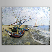 Famous Oil Painting A-fishing-boat-on-the-beach-at-les-saintes by Van Gogh
