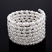 Elegant Ladies' Rhinestone Strand/Tennis Bracelet In White Pearl