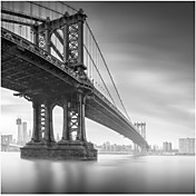 Gedrukt Art Landscape Manhattan Bridge 1 van Moises Levy