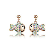 Charming Fish Cut Alloy Crystal Stud Earrings(More Colors)