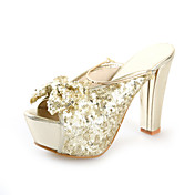 Sparkling Glitter Chunky Heel Slippers With Bowknot Party / Evening Shoes (More Colors)