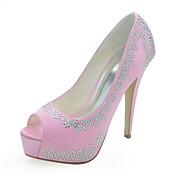Gorgeous Satin Stiletto Heel Peep Toe With Rhinestone Wedding Shoes (More Colors)