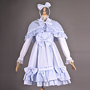 Capo senza maniche al ginocchio blu cotone Lolita Outfit Paese