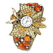 Charming Alloy Bird Design with Multicolor Crystal Quartz Dress Watch