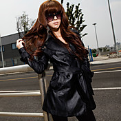 Women's Belted Solid Color PU Leather Trench Coat