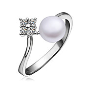 Lovely Platinum Plated with Cubic Zirconia Pearl Ring