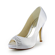 Satin Stiletto Heel Peep Toe With Rhinestone Wedding Shoes (More Colors)