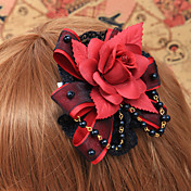 Handmade Red Rose Black Lace Gothic Lolita Headpiece